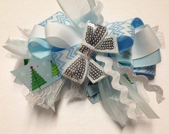 """5"""" Christmas tree funky loopy hair bow french clip OOAK birthday party over the top OTT baby toddler hairbow  light blue chevron ric rac"""