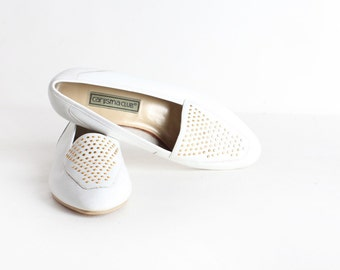 Vintage Women's Size 9 White  Leather Ballet Flats
