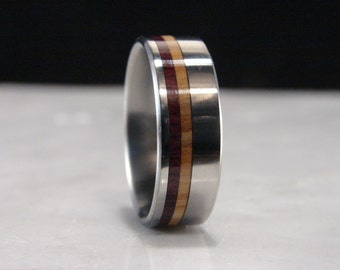 Purpleheart and Olive wood dual wood dual inlay ring with Titanium band, Double wood inlay ring,wood and metal ring, exotic wood,handmade
