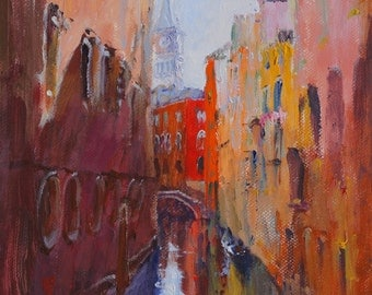 Painting of landscape, acrylic on Panel, cityscape, original acrylic painting on panel, light of Venice, Italy