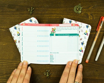 Passport Size Week on 2 Pages Alice in Wonderland Original Thematic Inserts for Midori Travelers Notebook