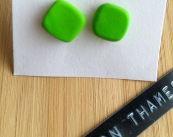 Apple Green Square Stud Earrings