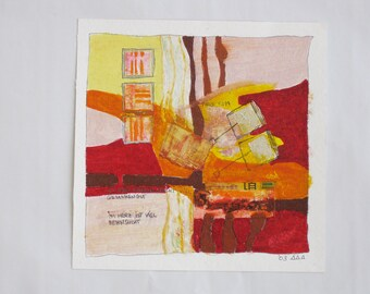 Art collage on paper - original - painting on paper, abstract art
