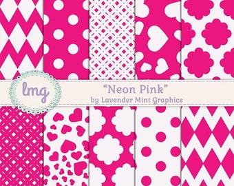 Neon Pink Digital Paper, Scrapbook Paper, Pink Digital Paper, Polka Dots, Chevron Paper, Printable Paper, Digital Download, Instant Download