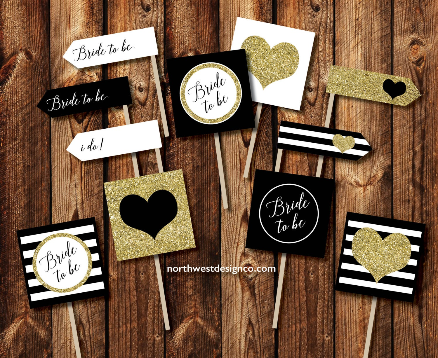 digital black gold mini toothpick flag and cupcake toppers kate spade inspired decor bride to be