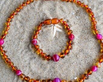 Sets, amber necklace, amber bracelet, genuine Baltic amber, Amber Baby Teething Necklaces & bracelet, amber jewelry, teething
