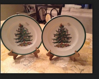 "Two Spode 10 3/4"" Dinner Plate in the Christmas Tree pattern."