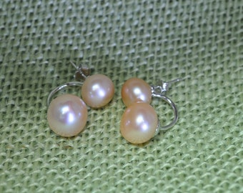 2 IN 1 -- 925 Sterling Silver with Fresh Water Pearl Stud Earrings with Pink, Purple