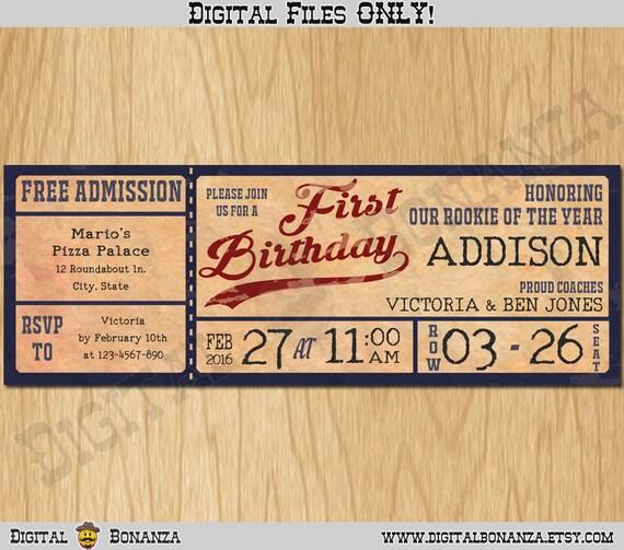 Vintage Baseball Birthday Invitations: Vintage Baseball FIRST Birthday Party Invitations