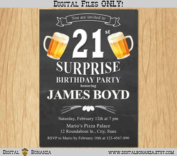 21st birthday invitation cheers beers invite surprise birthday