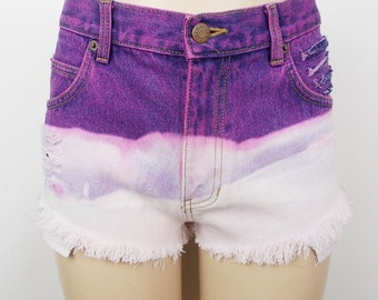 Cut Off Denim Shorts Dip Dyed Bleached Distressed Jeps Pink Purple W33 (UK 12-14)