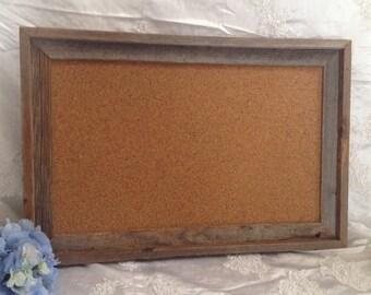 Rustic Barnwood Frame Corkboard Custom Sizes  Pin Board Memo Board