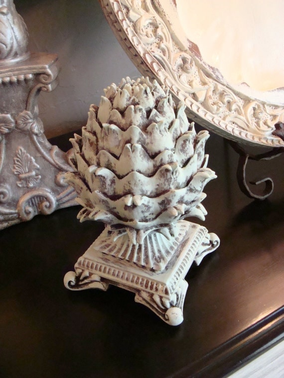 Mint green artichoke table top decorative ornate finial shabby for Artichoke decoration