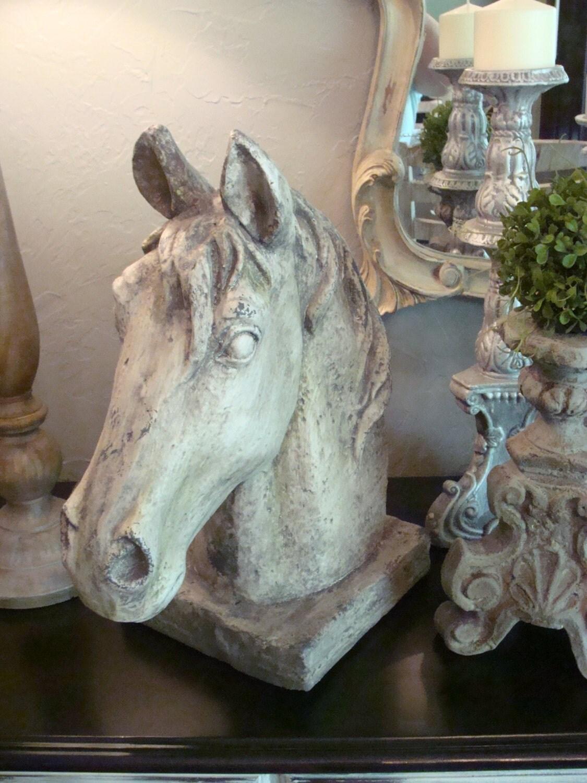 large gray horse head statue figurine table decor equestrian. Black Bedroom Furniture Sets. Home Design Ideas