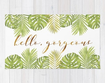 Woven Rug - Hello Gorgeous Palm Leaves - Green Gold White - Bedroom Nursery Living Room