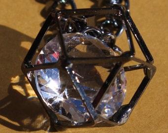 Black Caged Diamond Necklace