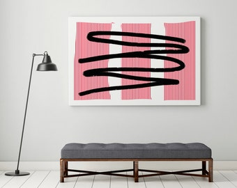 Large Abstract Art Canvas Print Minimalist Contemporary Wall Art Stripes Large Abstract Modern Oversized Art