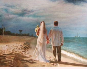 Oil Custom Portrait. Wedding Custom Portrait. Custom Oil painting. Commission Wedding Painting. Wedding personalized gift. 6 Sizes. Made USA