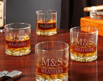 Custom Whiskey Glasses Set of 4 - Brighton Design - Wedding Gifts for Couples - Engraved Glassware Gift for Couples, Wedding, Housewarming