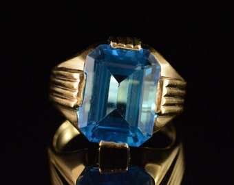 14K 11.00 Ct Blue Topaz Statement Ring Size 9.75 Yellow Gold