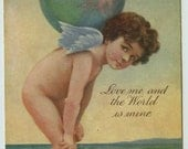 Tuck Valentine Art Greeting Cupid's Favors Series Cupid with World on Shoulders c1910 Oilette Postcard