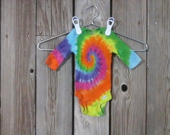 Colorful Tie-Dye Long Sleeve Onesie Pre-Made, Size 0-3 Months. Hand Dyed in Yellow, Orange, Pink, Violate, Blue, and Green. Ready to Ship.