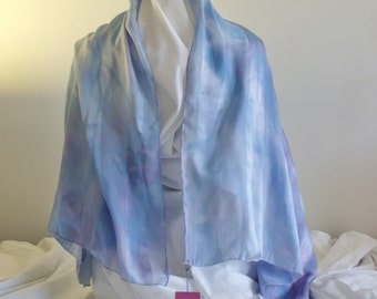 Shawl Silk Charmeuse Tone on Tone delicate blue pink violet