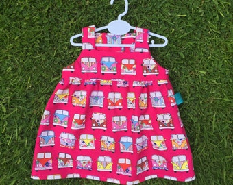 campervan baby dress, alternative baby dress, pink dress, 0-3 months, baby girl, new baby, vw baby gift, baby shower, summer