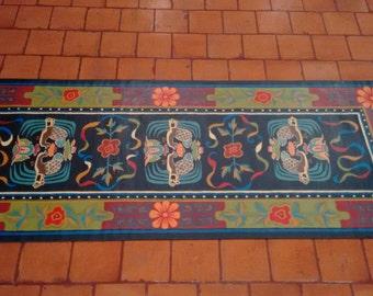 Tibet Rug runner, Wall hanging, runner rug, canvas rug, canvas floor cloth