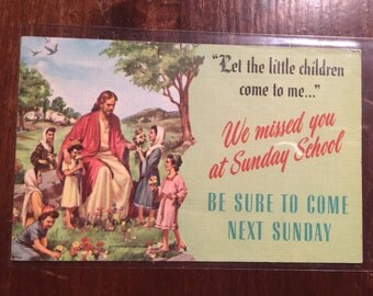 "1940's Linen Look Sunday School Reminder Postcard - Jesus ""Let the Children come to me...""  Mark 19:14"
