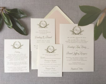 Sample Southern Magnolia wedding invitation in metallic gold ink