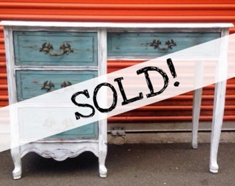 SOLD!!! Shabby Chic White & French Teal Desk / Vanity ... Free NYC delivery (or paid U.S Shipping)