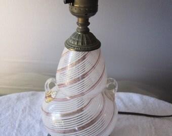 """Vintage Venetian MURANO   11"""" Table Lamp RoseGold & white swirls      mark on bottom"""