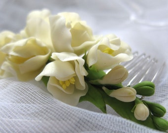 Bridal hair flower - freesia ivory - bridal flower comb - wedding flower comb. flower comb. cold porcelain. flower hair accessory