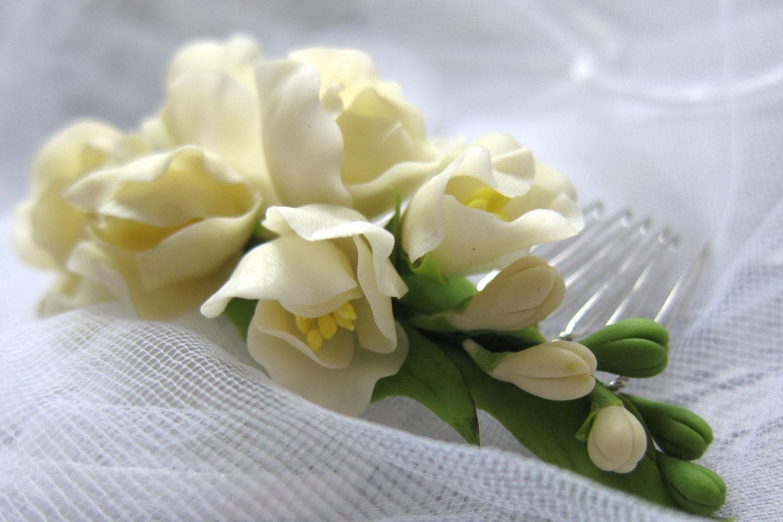 Freesia Ivory Bridal Flower Comb Blossom Comb By MakiraFlowers