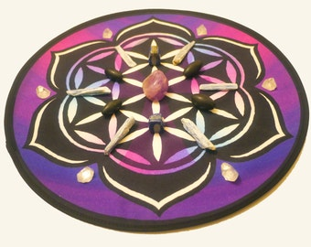Purple Flower of Life Crystal Grid (Spiritual Ascension Altar Cloth)
