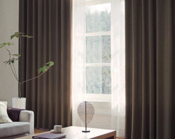 Curtains Ideas brown linen curtains : Items similar to Fynn blue bordered curtains, custom curtains ...