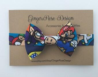 Mario Bow Tie; Mario Brothers Character Bow Tie; Video Game Bow Tie; Boy Bow Tie; Toddler Bow Tie; Baby Bow Tie; Adjustable Bow Tie
