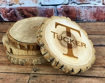 Wood Coasters, Custom Wood Coaster Set, Wood Engraved Coaster Set, Rustic Wood Coaster, Personalized Coasters,
