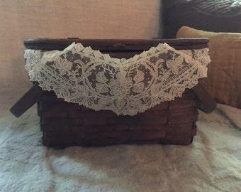 Antique Child's Picnic Basket with Antique Lace Collar