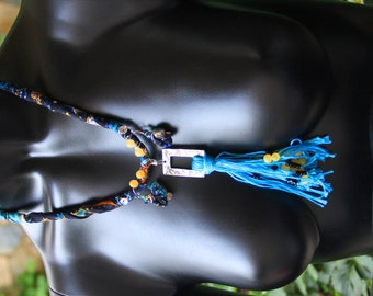 thin cotton necklace,colorful,handmade,authentic,beach,black-blue-yellow