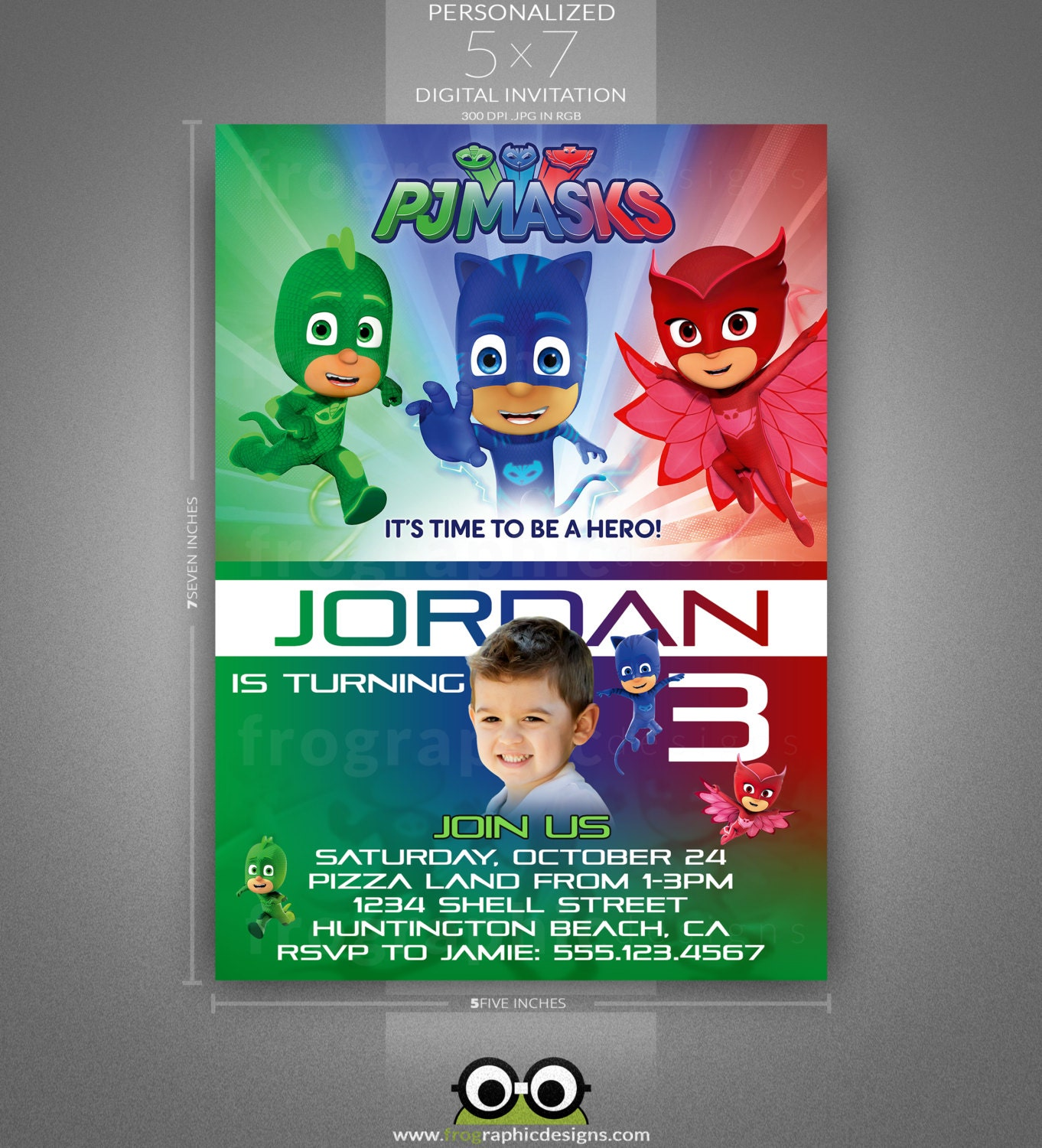 Pj Masks Birthday Card Template By Tarpaulin Designs Pictures To