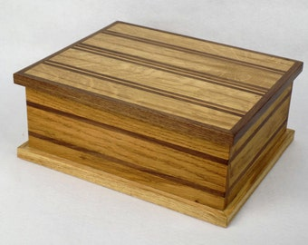 Birthday gift, mens valet box, jewellery, jewelry box, trinket box, keepsake box, memory box, gift for mom dad, oak box
