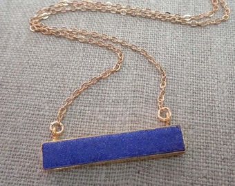 Purple Druzy Bar Necklace / Dark Purple Druzy / Natural Violet Druzy Necklace / Purple Stone Crystal Necklace / Gold edge Druzy bar /GD23