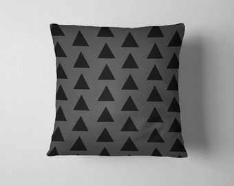 Gray and black geometric triangles throw pillow