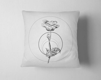 Geometry of a Flower No. 2 - Poppy throw pillow