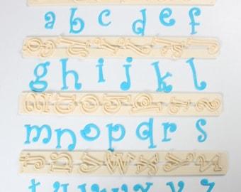 Funky Lower Alphabet Fondant Cutter Set/ Lower Letters Fondant Cutter Set/ Professional Alphabet Cutters