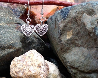 Silver Heart Filigree Dangle Earrings