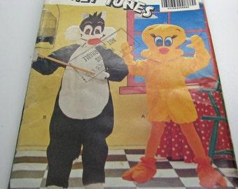 Butterick Looney Tunes 5043 Sewing Pattern Sylvester Tweety Children Boy  Girls 4 -14 S M L XL Halloween Dress Up Birthday Party Theatre