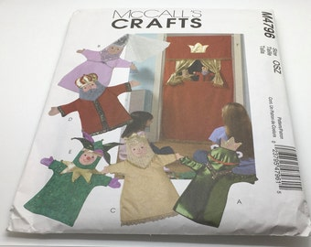 McCall's Craft Seeing Pattern M4796 Doorway & Puppets Princess Queen King Frog Prince Jester Theater New Uncut Sewing Pattern FF